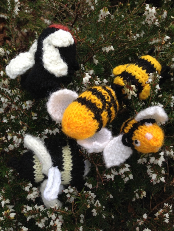 Photo - Knitted Bees - image for National Knitting Day - June 2019
